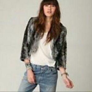 Free People Faux Fur Jacket size Small Blue